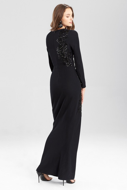 Josie Natori Crepe Twist Dress With Embellishment at The Natori Company