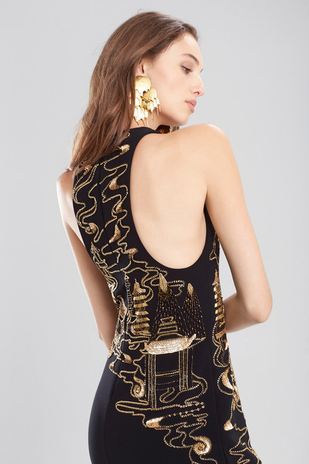 Josie Natori Crepe Halter Dress With Gold Beading at The Natori Company