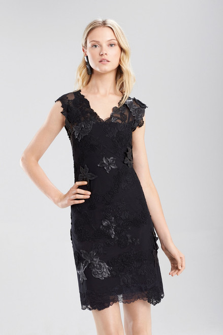 Josie Natori Duchess Satin Mesh Cocktail Dress at The Natori Company
