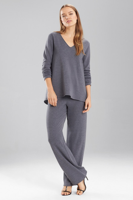Natori Brushed Long Sleeve V-Neck Top at The Natori Company