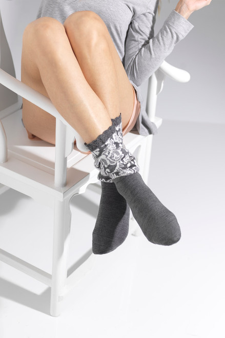 Natori Damask Boot Topper Crew Socks  at The Natori Company