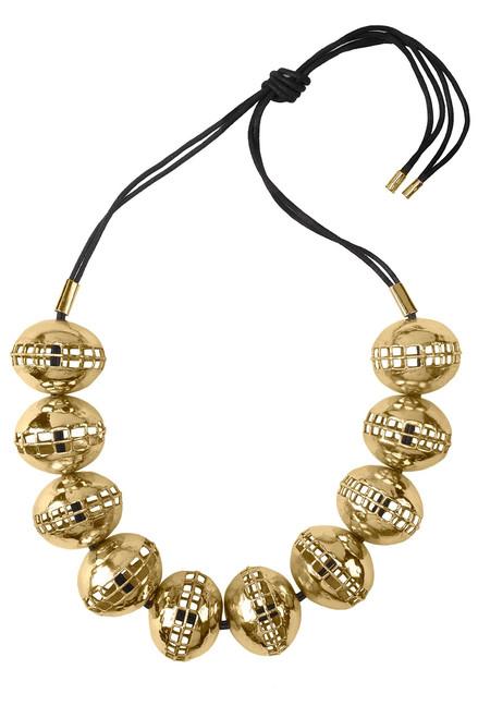 Josie Natori Gold Brass Cage Round Necklace at The Natori Company
