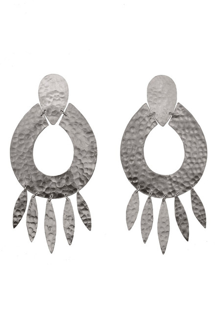 Josie Natori Silver Brass Oval Earrings at The Natori Company