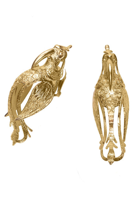 Josie Natori Gold Brass Small Bird Earrings at The Natori Company