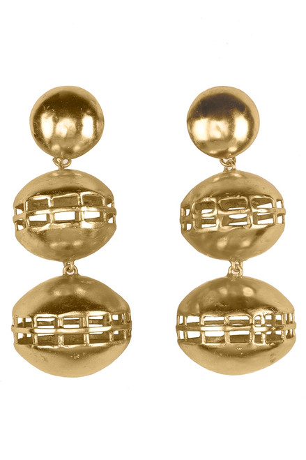 Josie Natori Gold Brass Double Cage Earrings at The Natori Company