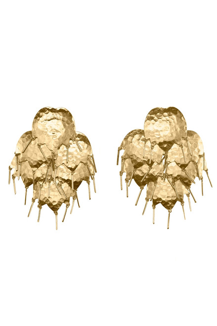Josie Natori Gold Brass Circular Tulip Earrings at The Natori Company