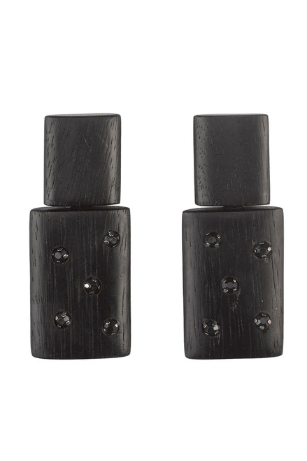 Josie Natori Acacia Wood With Silver Stacked Earrings at The Natori Company