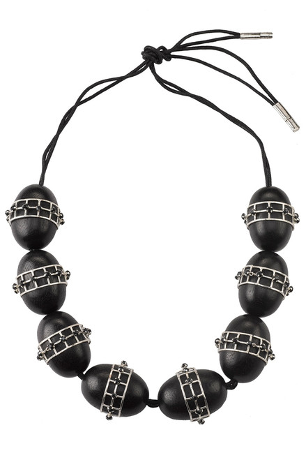 Buy Josie Natori Acacia Wood With Silver Round Cage Necklace from