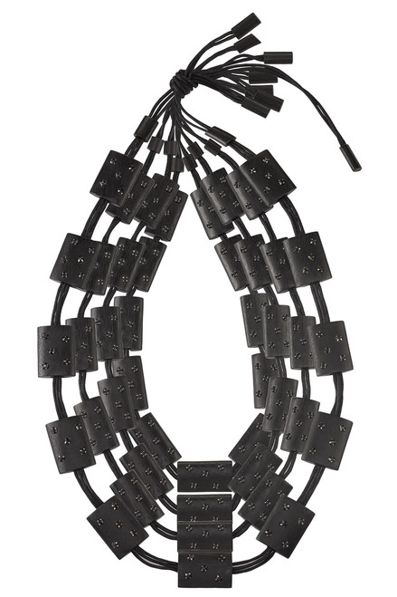 Buy Josie Natori Acacia Wood With Silver Four Layer Necklace Black O/S from