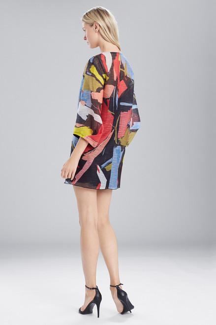 Josie Natori Printed Gauze Dress With Pleated Sleeves at The Natori Company
