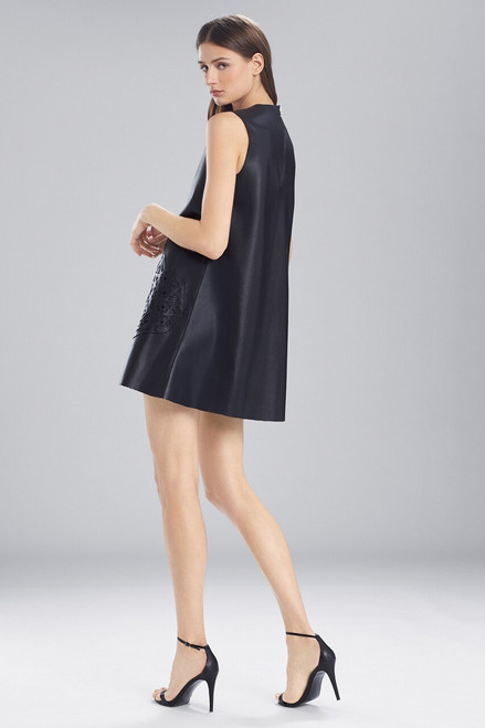 Josie Natori Faux Leather Dress With Embroidery at The Natori Company