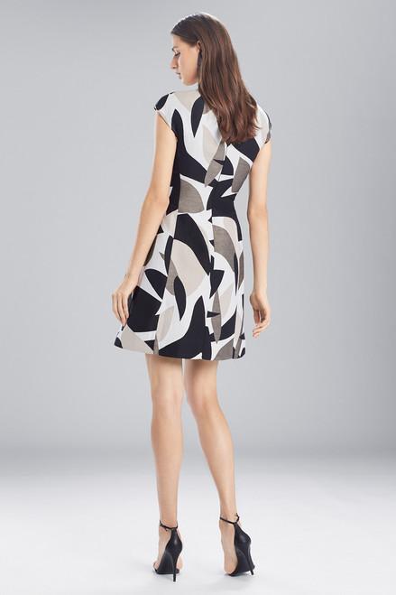 Josie Natori Abstract Printed Jacquard Sleeveless Seam Dress at The Natori Company
