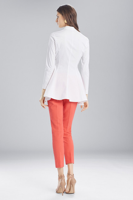 Josie Natori Cotton Shirting Flare Top With Embroidery at The Natori Company