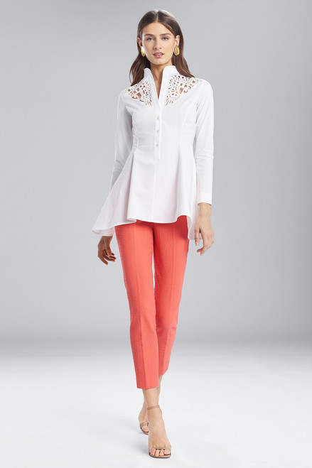 Buy Josie Natori Cotton Shirting Flare Top With Embroidery from