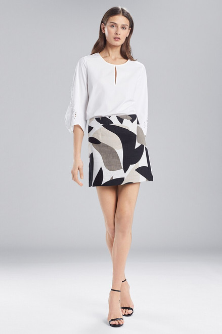 Josie Natori Cotton Shirting Top With Pleated Sleeves at The Natori Company
