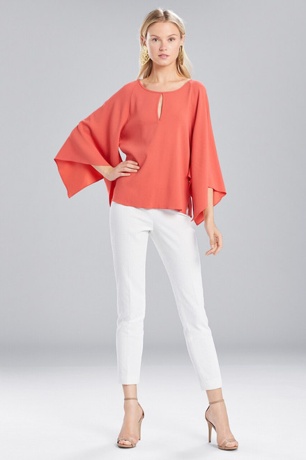 Buy Josie Natori Satin Back Crepe Flutter Sleeve Top from