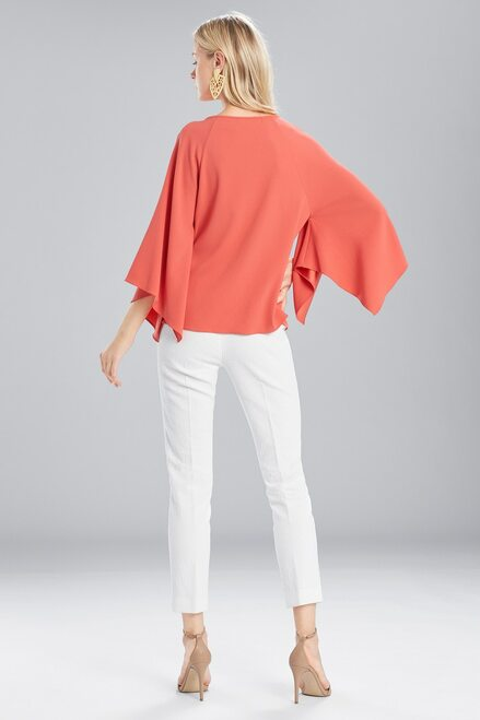 Josie Natori Satin Back Crepe Flutter Sleeve Top at The Natori Company