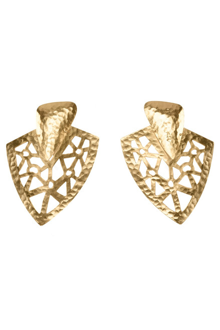 Josie Natori Goldplated Brass Cutout Earrings at The Natori Company