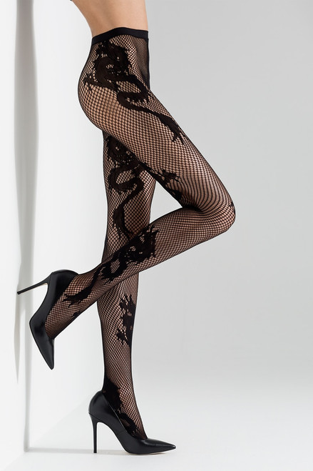 Natori Dragon Toss Net Tights at The Natori Company