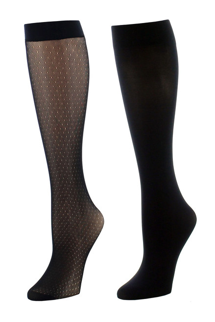 Natori Dotted Net/Solid 2 Pair Trouser Socks at The Natori Company