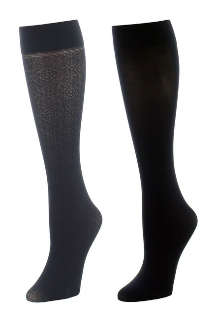 Natori Floral Medallion/Solid 2 Pair Trouser Socks at The Natori Company