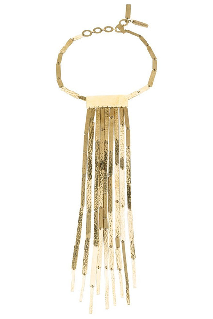 Josie Natori Hammered Brass Fringe Necklace at The Natori Company