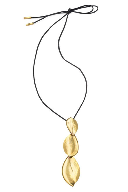 Buy Josie Natori Long Brass Leaves Necklace from