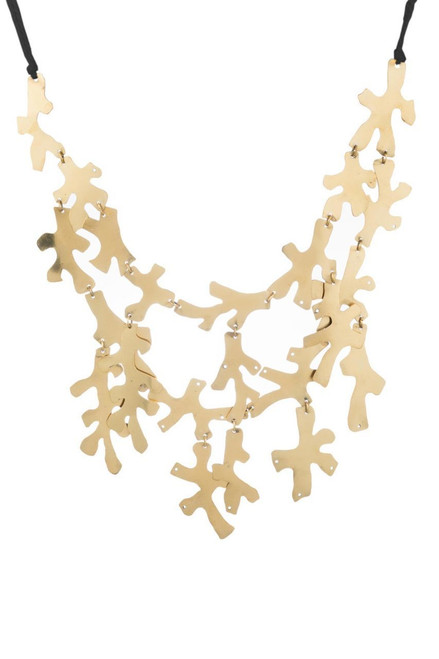 Josie Natori Hammered Brass Necklace at The Natori Company