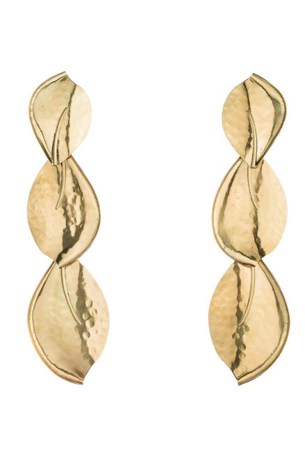 Josie Natori Brass Leaf Trio Earrings at The Natori Company
