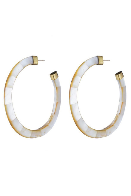 Josie Natori Mother of Pearl Hoop Earrings at The Natori Company