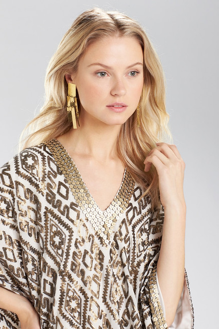 Josie Natori Hammered Brass Drop Fringe Earrings at The Natori Company