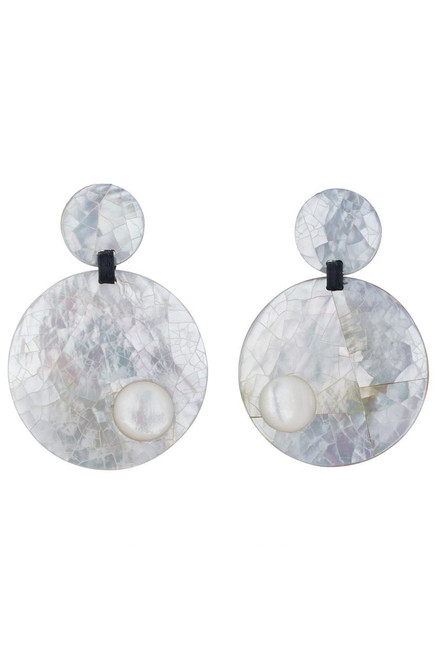 Josie Natori Mother of Pearl Round Earrings at The Natori Company