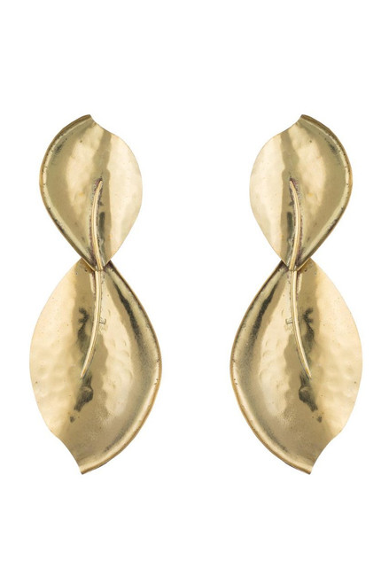 Buy Josie Natori Brass Leaf Earrings from