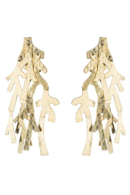 Buy Josie Natori Hammered Brass Earrings from