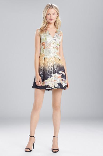 Josie Natori Scenery Metallic Jacquard Front Pleated Dress at The Natori Company