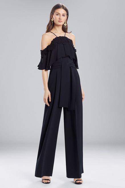Josie Natori Core Crepe With Lace Jumpsuit at The Natori Company