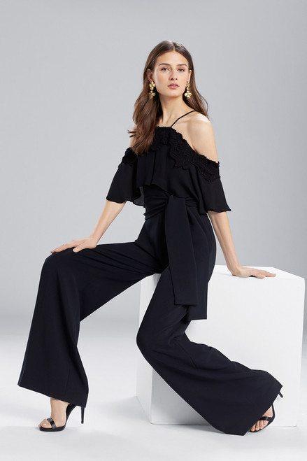 Josie Natori Core Crepe With Lace Jumpsuit at The Natori Company