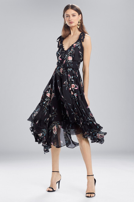 Buy Josie Natori Pressed Flower Printed Silk Chiffon Dress from