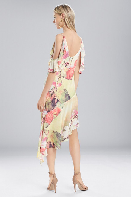 Josie Natori Printed Silky Soft Ruffle Sleeve Dress at The Natori Company