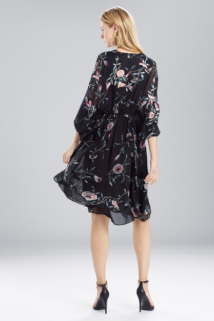 Josie Natori Pressed Flower Printed Silk Chiffon Caftan Dress at The Natori Company