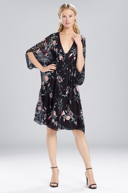 Buy Josie Natori Pressed Flower Printed Silk Chiffon Caftan Dress from