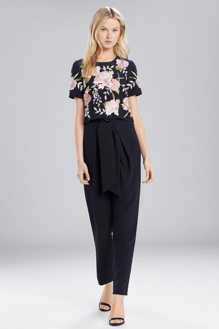 Josie Natori Core Crepe Embroidered Top at The Natori Company