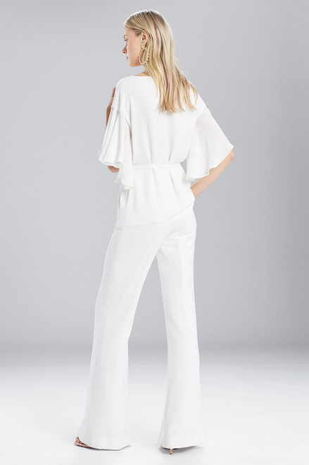 Josie Natori Solid Silky Soft Flutter Sleeve Top at The Natori Company