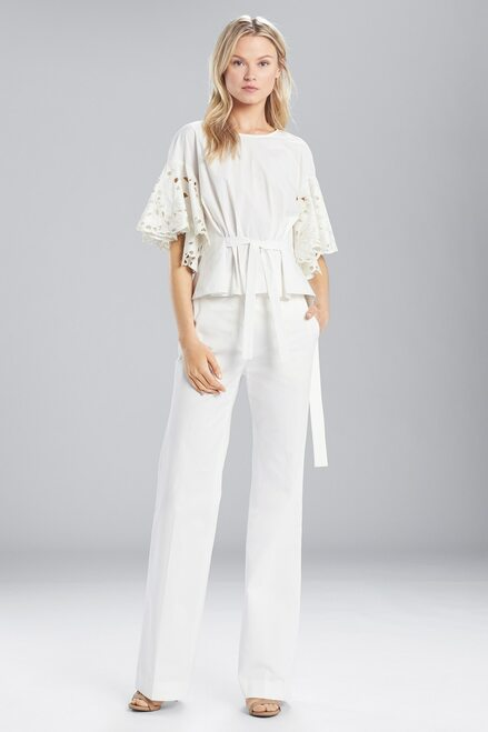 Buy Josie Natori Cotton Shirting Ruffle Sleeve Top from