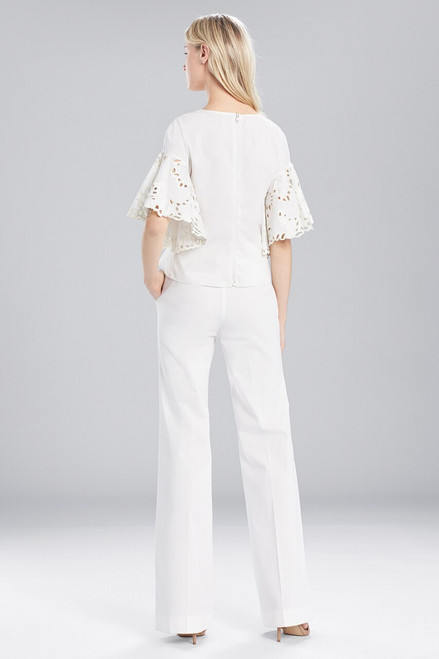 Josie Natori Cotton Shirting Ruffle Sleeve Top at The Natori Company