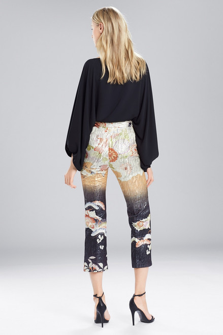 Josie Natori Scenery Metallic Jacquard Culotte Pants at The Natori Company