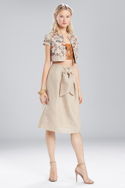 Josie Natori Straw Mixed Media Front Tie Skirt at The Natori Company
