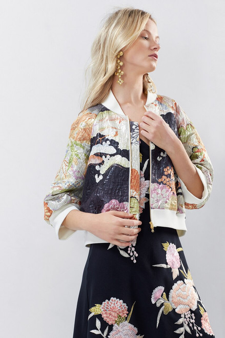 Josie Natori Scenery Metallic Jacquard Bomber Jacket at The Natori Company