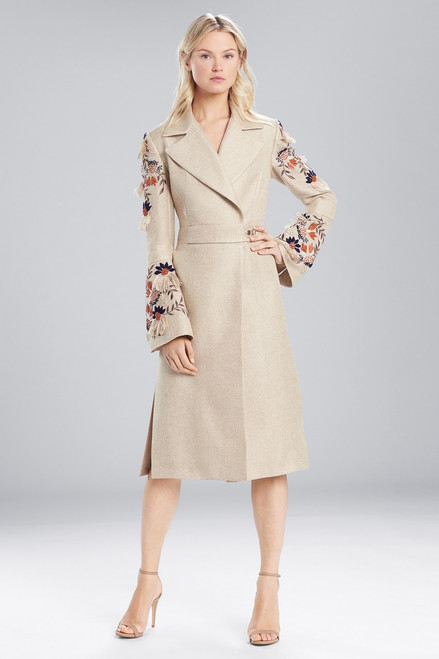Buy Josie Natori Straw Mixed Media Embroidered Trench Coat from