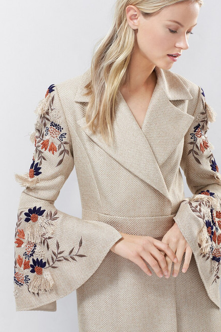 Josie Natori Straw Mixed Media Embroidered Trench Coat at The Natori Company